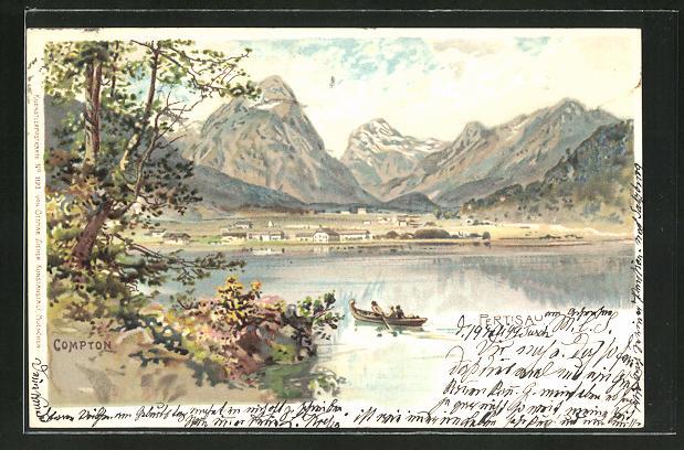 Künstler-AK Edward Theodore Compton: Pertisau, Stadtblick mit Gebirge im Hintergrund