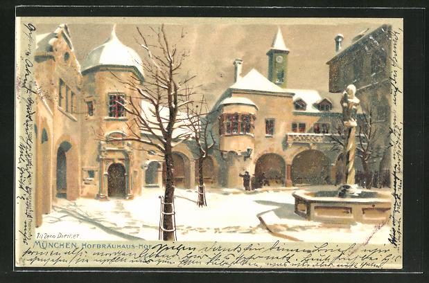 Künstler-AK Zeno Diemer: München, Hofbräuhaus-Hof im Schnee
