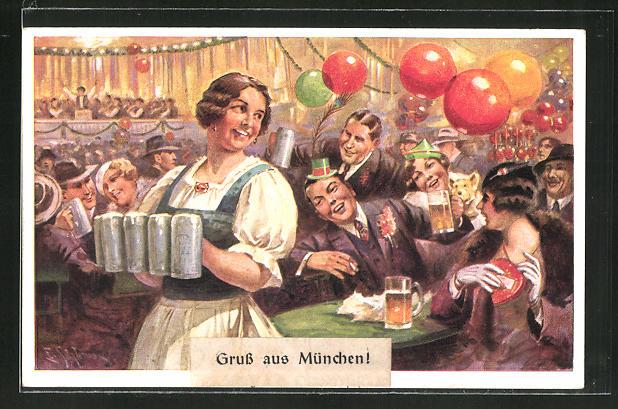 Künstler-AK Walter Einbeck: Wiesn-Bedienung mit vier Mass Bier, Oktoberfest
