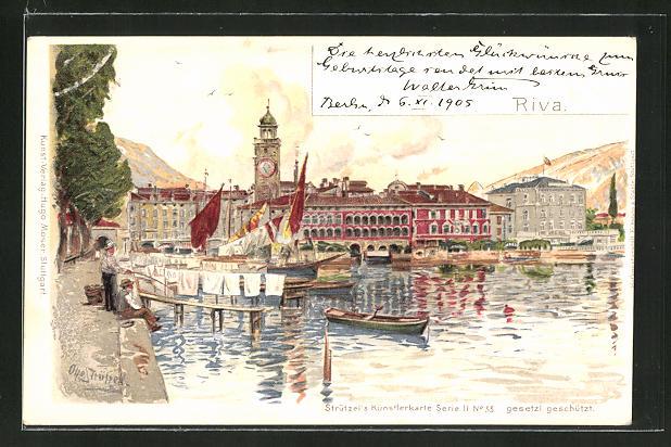 Künstler-AK Otto Strützel: Riva, Partie an der Schiffsanlegestelle mit Kirchturm