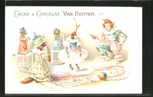 AK Reklame für Cacao & Chocolat Van Houten, Tiere im Zirkus