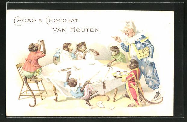 AK Reklame für Cacao & Chocolat Van Houten, Zirkus-Affen am Esstisch