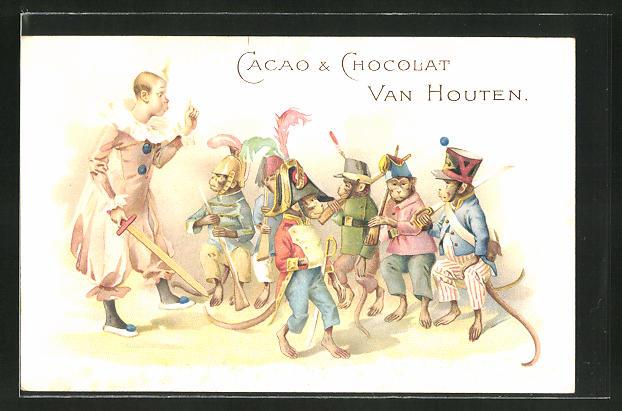 AK Reklame für Cacao & Chocolat Van Houten, Zirkus-Affen mit Zirkusdirektor