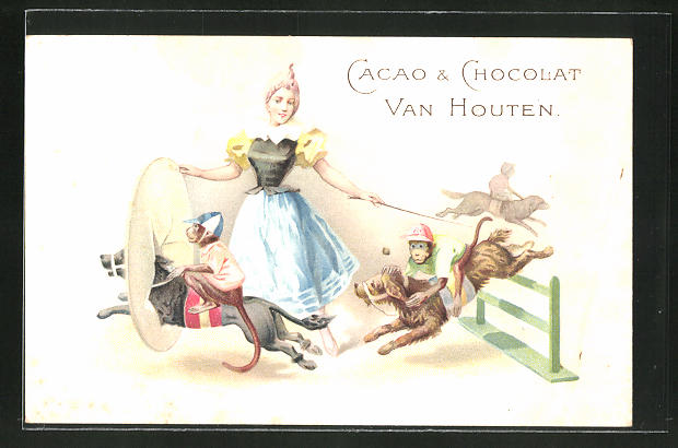 AK Reklame für Cacao & Chocolat Van Houten, Mädchen lässt Affen auf Hunde durch einen Ring springen, Zirkus