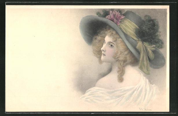 Künstler-AK Wichera: schöne Frau mit grossem Hut