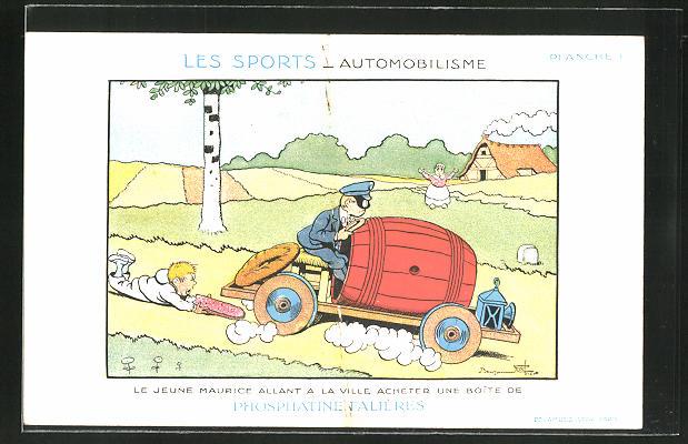 Künstler-AK sign. B. Rabier: Les Sport-Automobilisme, Le Jeune Maurice allant a la Ville acheter une Boite...