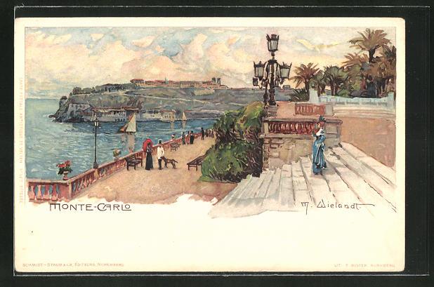 Künstler-AK Manuel Wielandt: Monte-Carlo, Auf der Promenade