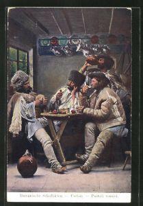 AK Rumänische Schafhirten nach getaner Arbeit