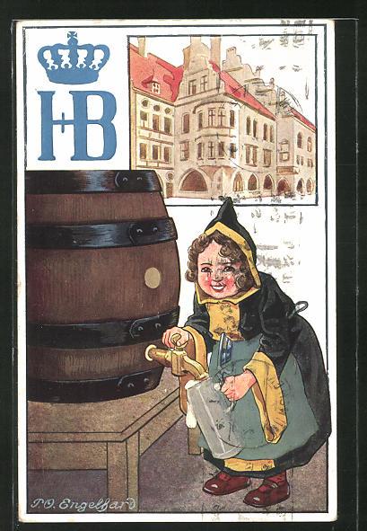 Künstler-AK P. O. Engelhard (P.O.E.): Münchner Kindl zapft Bier, Hofbräuhaus