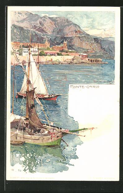 Künstler-AK Manuel Wielandt: Monte-Carlo, Partie an der Küste
