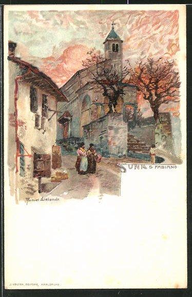 Künstler-AK Manuel Wielandt: Suna, Strassenpartie bei der Kirche S. Fabiano