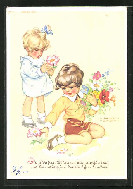 Künstler-AK Ilse Wende-Lungershausen: Kinder pflücken Blumen
