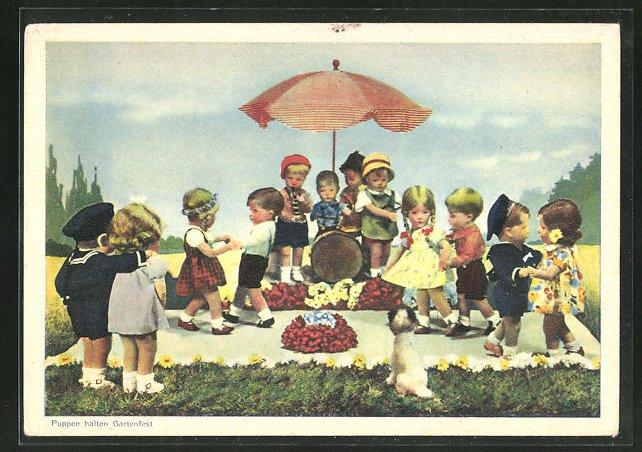 AK Käthe Kruse-Puppen halten ein Gartenfest