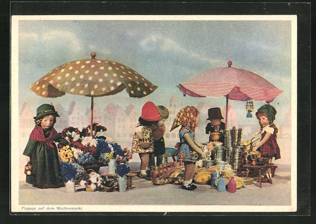 AK Käthe Kruse-Puppen auf dem Wochenmarkt
