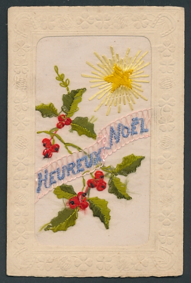 Seidenstick-AK Französischer Weihnachtsgruss mit Stechpalmzweig