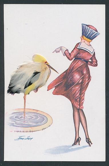 Echtfeder-Künstler-AK Xavier Sager: Elegante Dame und ein Schreitvogel aus Federn