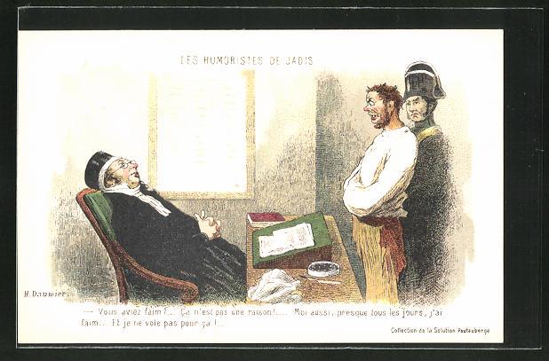 Künstler-AK sign.H. Daumier: Les Humoristes de Jadis, Vous aviez faim?
