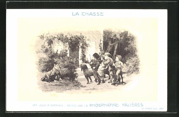 AK La Chasse, Les Jeux D'Enfants, Edités par la Phosphatine Falliéres, Medikament