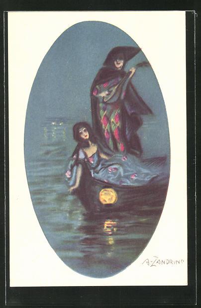 Künstler-AK A. Zandrino: Frauen bei Nacht in einem Ruderboot