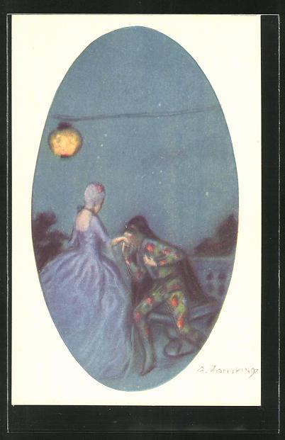 Künstler-AK A. Zandrino: Herr küsst Madame die Hand