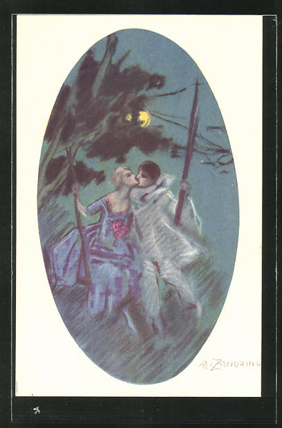 Künstler-AK A. Zandrino: Paar küsst sich bei Mondschein