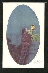 Künstler-AK A. Zandrino: Mann klettert die Leiter hoch zu seiner Liebsten