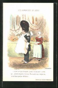 Künstler-AK sign.H. Daumier: Les Humoristes de Jadis, Je ne suis tranquille