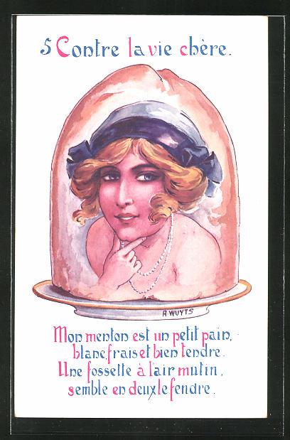 Künstler-AK A. Wuyts: 5 Contre la vie chére, Portrait einer jungen Dame