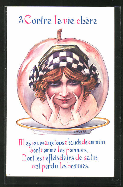 Künstler-AK A. Wuyts: 3 Contre la vie chére, junge Dame in einem Apfel