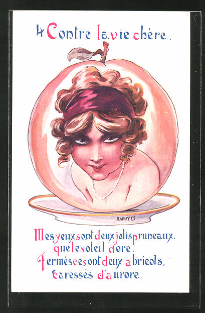 Künstler-AK A. Wuyts: 4 Contre la vie chére, junge Dame in einem Apfel