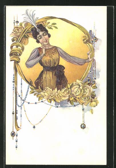 AK Portrait einer jungen Dame, Rosen, Jugendstil