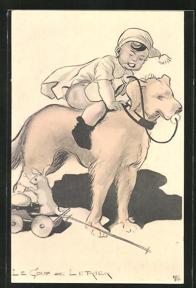 Künstler-AK Emmanuel Poire: Le Coup de Letrier, Knabe reitet auf einem Hund