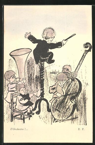 Künstler-AK Emmanuel Poire: L'Orchestre! Dirigent auf einem Sprungfeder-Hocker