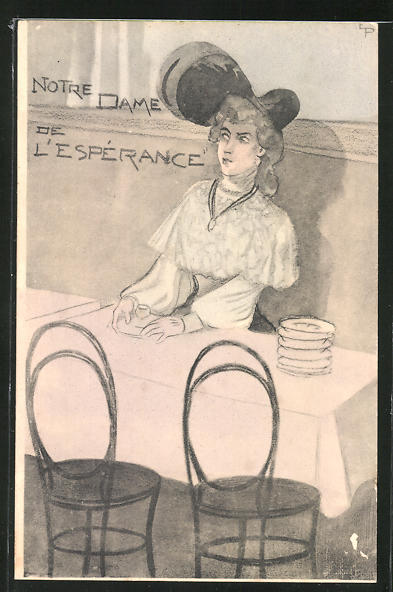 Künstler-AK Emmanuel Poire: Notre Dame de L'Esperance, Dame am Tisch sitzend