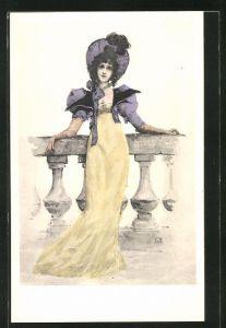 Künstler-AK Manuel Orazi: elegante Frau im gelben Kleid mit blauem Hut