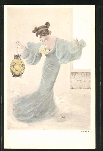 Künstler-AK Manuel Orazi: Frau im blauen Kleid mit Lampion
