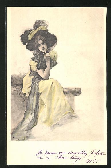 Künstler-AK Manuel Orazi: Frau im gelben Kleid mit Hut
