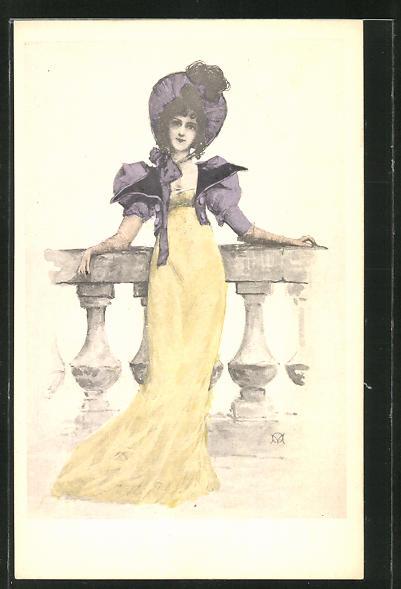 Künstler-AK Manuel Orazi: elegante Frau im gelben Kleid