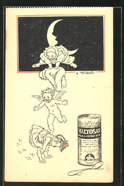 Künstler-AK sign. Willette: Maltosan, Reklame für ein Medikament, Engel formen einen Turm