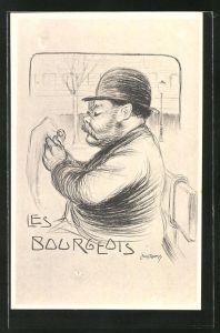 Künstler-AK Leon Pousthomis: Les Bourgeois, Mann mit Hut sitzt auf einer Bank und liest