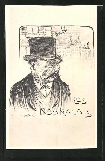 Künstler-AK Leon Pousthomis: Les Bourgeois, alter Mann mit Zylinder vor einem Haus, Arbeiterbewegung
