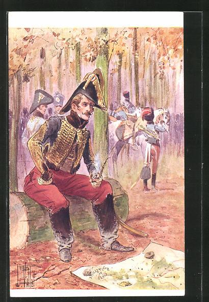 Künstler-AK Louis Vallet: Antoine Charles Louis de Lasalle, Husaren-General blickt auf eine Karte