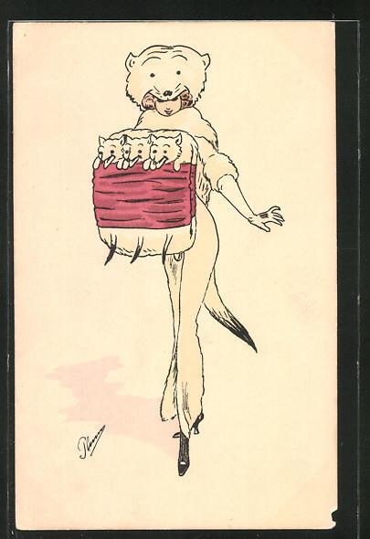 Künstler-AK Plum: elegante Dame mit extravagantem Fuchs-Hut und Fuchspelz