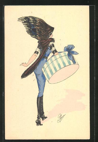 Künstler-AK Plum: elegante Dame mit interessantem Hut und Kleiderschachtel