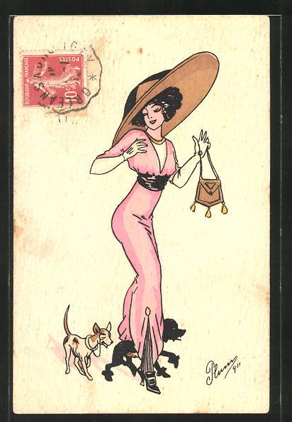 Künstler-AK Plum: elegante Frau mit grossem Hut und Hunden