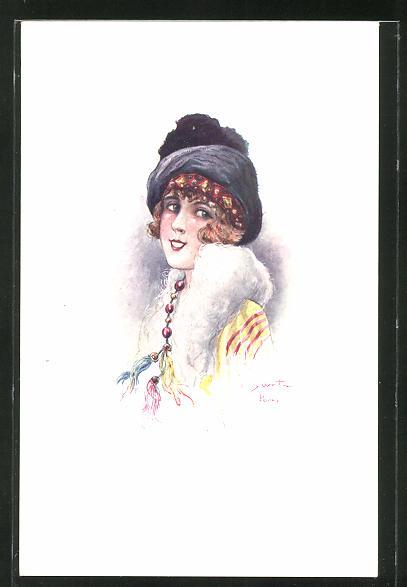Künstler-AK sign. C. Santini: schöne Frau mit Hut im Portrait