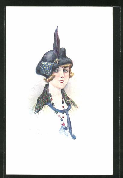 Künstler-AK sign. C. Santini: Portrait einer hübschen Dame mit Federhut