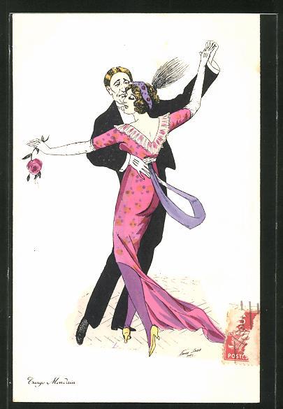 Künstler-AK Xavier Sager: Tango Mondain, tanzendes Paar in eleganter Robe