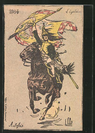 Künstler-AK Louis Vallet: L'Equitations 1804, berittener Soldat auf Pferd mi Fahne