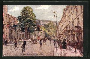 Künstler-AK Georges Stein: Geneve, Rue de la Corraterie, Lebendiges treiben in der Stadt